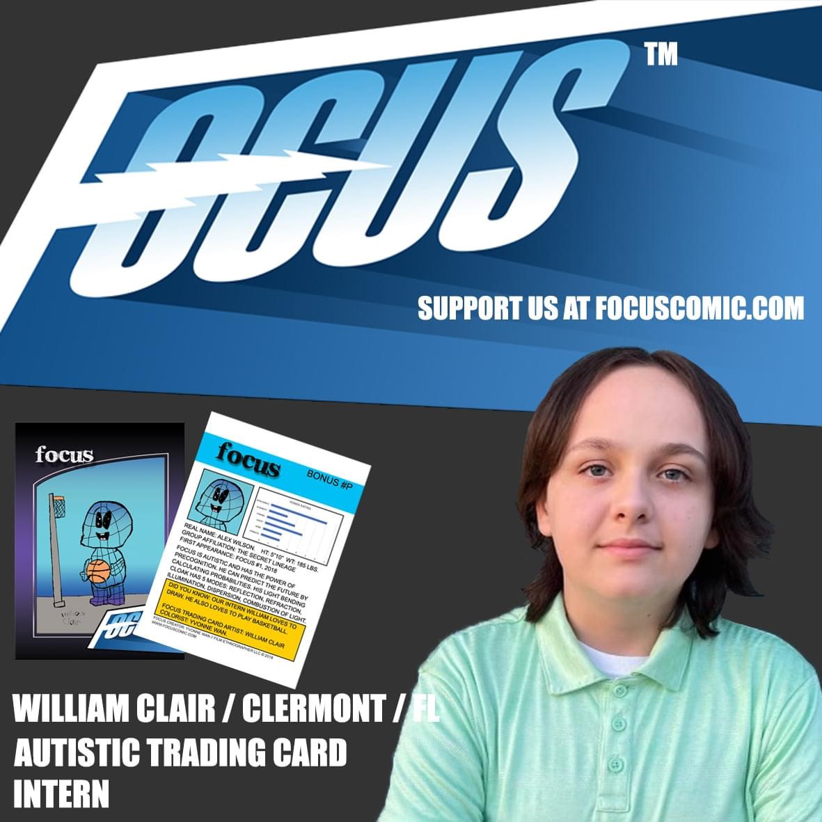 Meet our new autistic Trading Card intern: William Clair, 13 years old