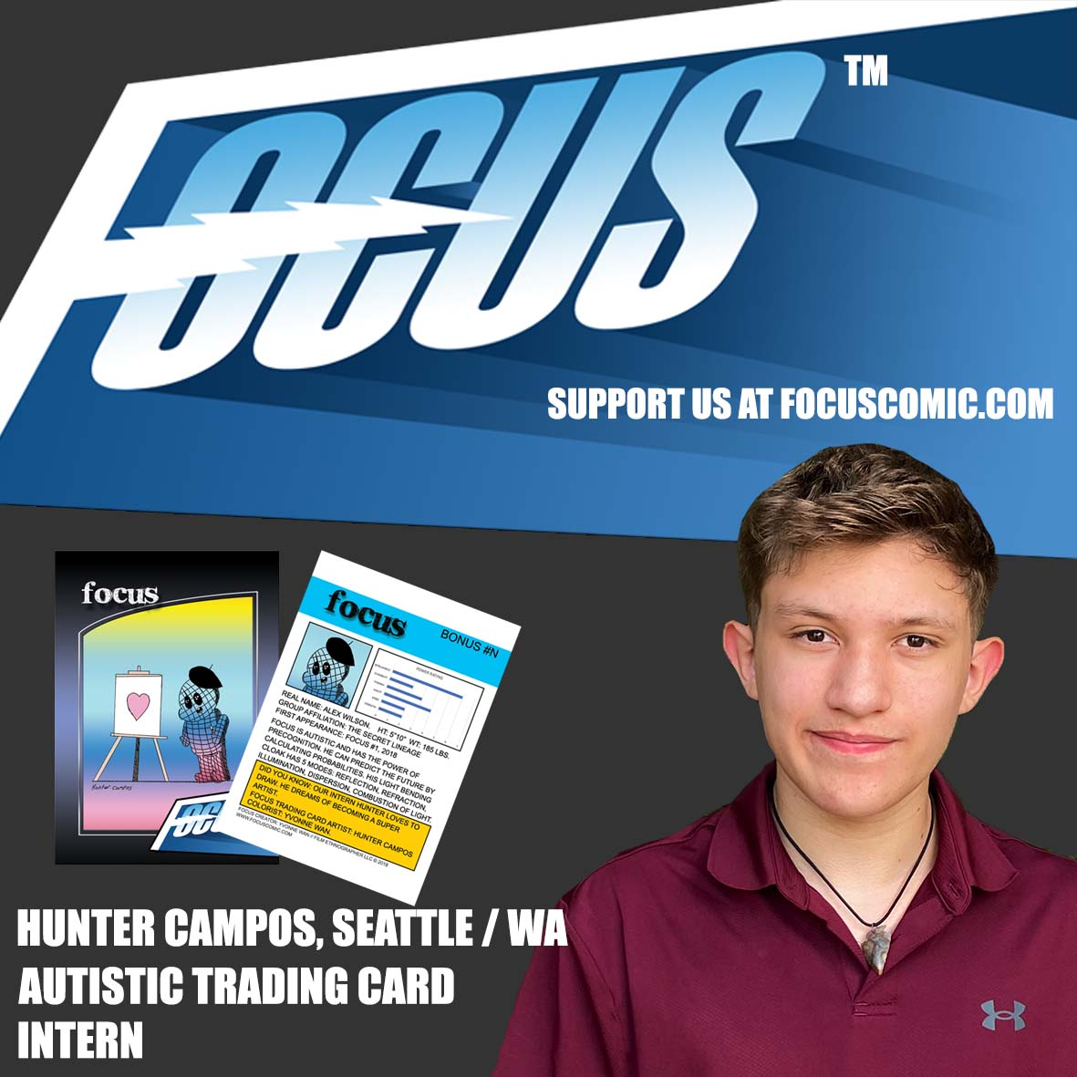 Meet our new autistic Trading Card intern: Hunter Campos, 14 years old. Please support his art