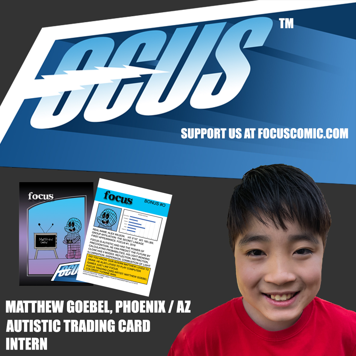 Meet our new autistic Trading Card intern: Matthew Goebel, 11 years old. Please support his art
