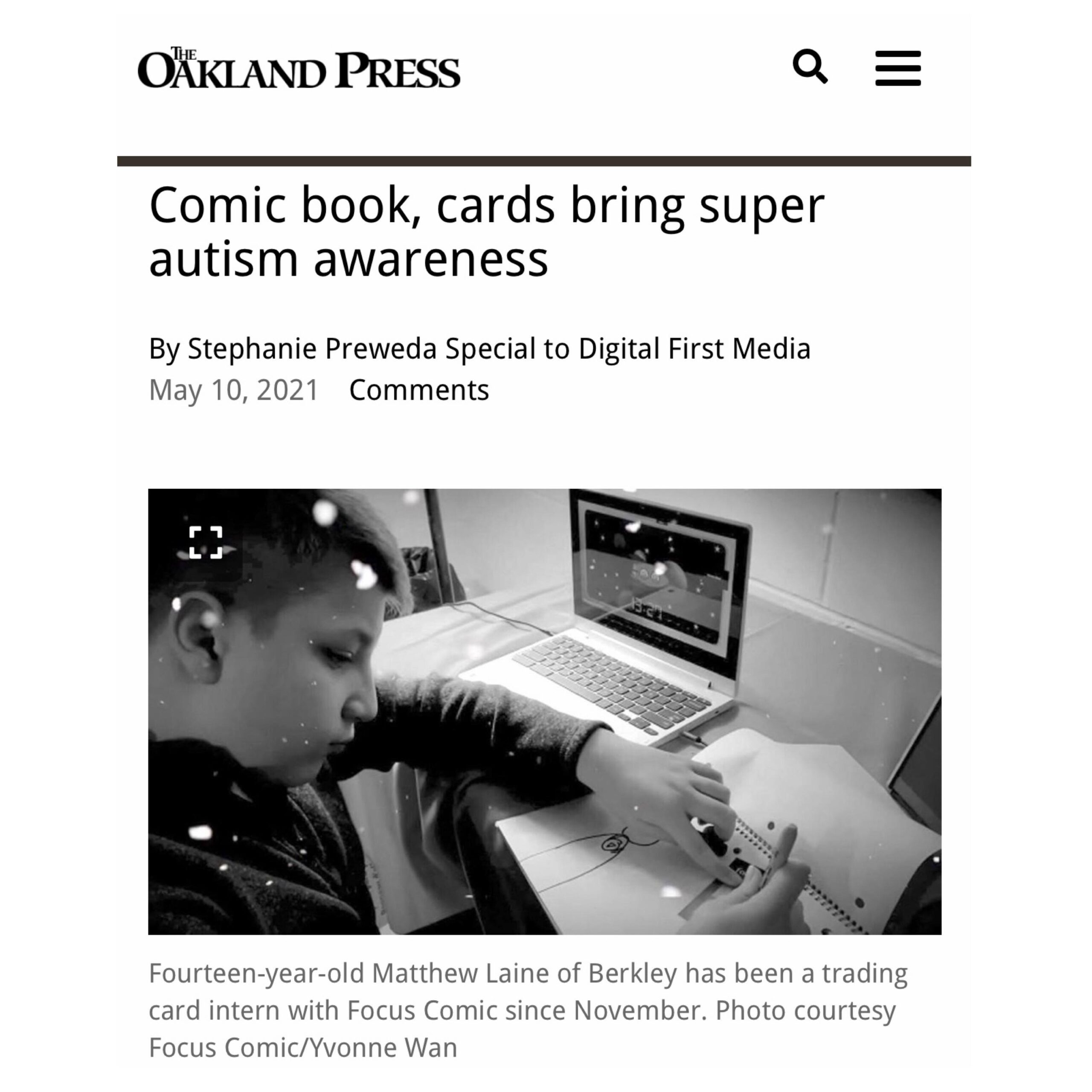 Focus Comic featured in the Oakland Press Newspapers
