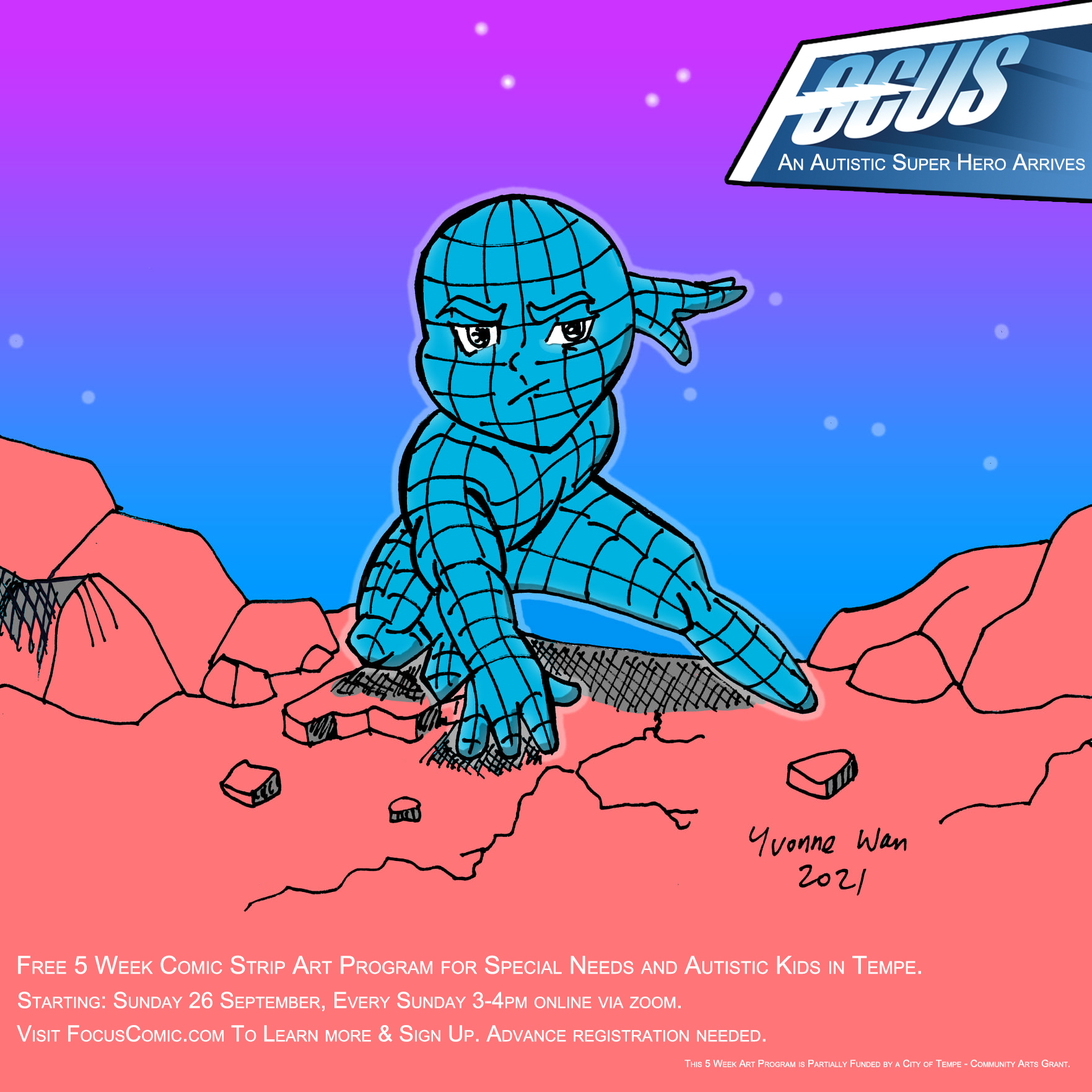 Free Focus Comic Strip 5 week art program for Special Needs and Autistic Kids in Tempe